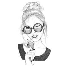Summer girl with ice cream fashion illustrations 그림, 패션 일러스트 Hipster Wallpaper, K Wallpaper, Cartoon Drawings, Art Drawings, People With Glasses, Love Doodles, Simple Cartoon, Cool Sketches, Sketch Art