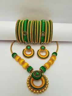 Silk Thread Bangles Design, Silk Thread Necklace, Silk Bangles, Beaded Necklace Patterns, Thread Jewellery, Jewelry Patterns, Beaded Jewelry, Bangles Making, Diy Jewelry Making