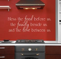 Bless the food before us, the family beside us, and the love between us Vinyl Wall Decal - Dining Room & Kitchen Vinyl Wall Art