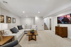 Basement Wall Colors, Gray Basement, Basement Living Rooms, Basement Layout, Basement Furniture, Modern Basement, Basement Apartment Decor, Carpet In Basement, Small Basement Decor