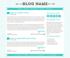 Blog Design - Tiffany #premade #wordpress #theme #design #tiffany #blue #blogdesign
