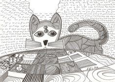 """wondercat"", #Pigmenttusche (#PITT #artist #pen Faber-Castell ) auf #Hahnemühle #Papier ""Skizze 190"", 190 g/m2 21 x 30 cm, © #matthias #hennig 2014   ""wondercat"", #india #ink (#PITT #artist #pen Faber-Castell ) on #Hahnemuehle #paper ""Skizze 190"",190 g/sqm 21 x 30 cm, © #matthias #hennig 2014"