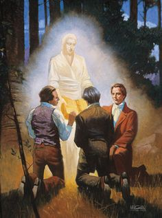 An Angel Showing the Gold Plates to Joseph Smith, Oliver Cowdery, and David Whitmer (Moroni Shows the Gold Plates to Joseph, Oliver, and David) Joseph Smith, Joseph Joseph, Book Of Mormon, Lds Mormon, Mormon Stories, Image Jesus, Lds Pictures, Angel Show, Jesus Christ