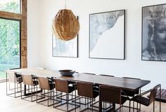 Take a peek inside Jenni Kayne 's organic chic Los Angeles home. Kayne mixes natural neutrals with pops of color for a family friendly and fun home. Decor, Live Edge Wood Table, Iron Chair, Dining, Dining Room Design, Home Pictures, Minimalist Decor, Dining Room Decor, Rustic Retreat