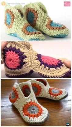 Crochet Hexagon Granny Slippers Free Pattern - #Crochet Women Slippers Free Patterns