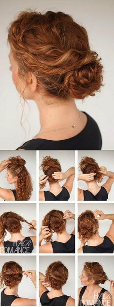 Hair Hair Romance - Curly hair tutorial - Twisted bun hairstyle - click through for full tutorial by roxie Hair Romance Curly, Curly Hair Tips, Updo Curly, Curly Up Do, Curly Girl, Wavy Hair, Thick Hair, Curly Hair Easy Updo, Curly Frizzy Hair