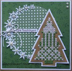 Cross Stitch Tree, Cross Stitch Cards, Cross Stitch Patterns, Stitching On Paper, Marianne Design, Christmas Cross, Blackwork, Stamp, Holiday Decor