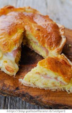 Savory pie with puff quick recipe stuffed   Torta salata con sfoglia ripiena ricetta veloce   Arte in Cucina