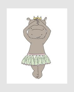 Girl Nursery Art -- Hippo Ballerina Princess No. 2  by SweetMelodyDesigns