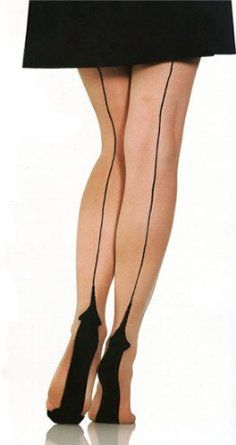 SHANNA: Black seamed stockings and pantyhose