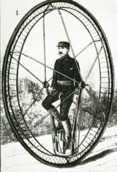 Harper's monowheel: around A monowheel with six spokes and some very complicated bracing around the periphery of the wheel. The widely-spaced spokes would allow the rider to get in and out relatively easily. Whether this machine was ever built is unknown. Antique Photos, Vintage Photographs, Old Pictures, Old Photos, Monocycle, Steampunk, Antique Bicycles, Pedal Cars, Vintage Bicycles