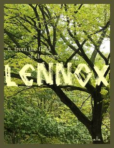 Baby Boy or Girl Name: Lennox. Meaning: From the Field of Elm Trees. Origin: Celtic; Gaelic; also a Scottish clan name.