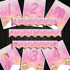 Printable Barbie Birthday Banner Bunting Banner, Banners, Barbie Birthday, Your Design, Vibrant Colors, Card Stock, Create Your Own, Printables, Lettering