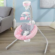 Check out the Blush Safari Cradle 'n Swing at the official Fisher-Price website. Explore all our baby and toddler gear, toys and accessories today! Baby Girl Elephant, Elephant Nursery, Soothing Baby, Baby Doll Accessories, Baby Necessities, Baby Essentials, Baby Swings, Baby Needs, Baby Furniture