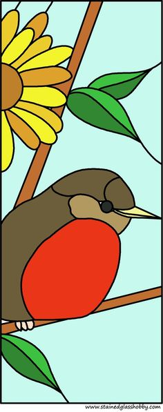 robin and daffodil glass design
