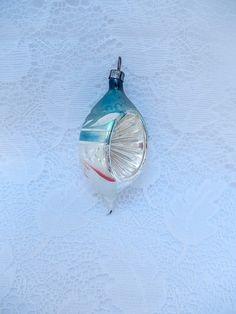 vintage glass ornament Poland teardrop shape by vintagebyclaudine