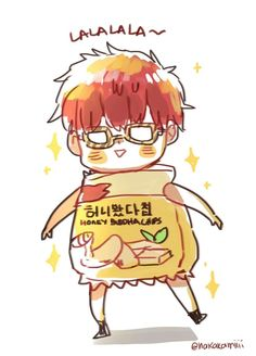 Aawww^^ Seven and his Honey Budah Potato chips. It's adorable! ||707~Mystic Messenger||
