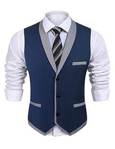 Coofandy Mens V-Neck Sleeveless Slim Fit Vest,Jacket Business Suit Dress Vest,Wine Red,Small(Chest: Mens Suit Vest, Vest Jacket, Mens Suits, Dress Vest, Blazer Dress, Dress Outfits, Khaki Suits, Suit Men, Black Suits