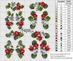 Gallery.ru / Фото #155 - small маленькие схемы - pustelga Cross Stitch Bookmarks, Cross Stitch Rose, Cross Stitch Flowers, Hand Embroidery Stitches, Cross Stitch Embroidery, Cross Stitch Patterns, Stitch Cake, Moise, Sewing Material