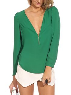 Green Chiffon Zipper Front Long Sleeves Blouse - Fashion Clothing, Latest Street Fashion At Abaday.com