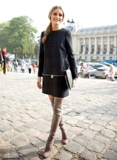 Olivia Palermo rocking a cute dress and over the knee boots