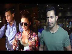 Varun Dhawan & Jacqueline Fernandez at Mumbai airport.