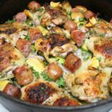 """One Skillet Chicken with Sweet Italian Sausage and Brussel Sprouts """"Kwaz Kan Cook"""" Sausage Recipes, Casserole Recipes, Paleo Recipes, Low Carb Recipes, Chicken Recipes, Dinner Recipes, Cooking Recipes, Dinner Ideas, Cooking Videos"""