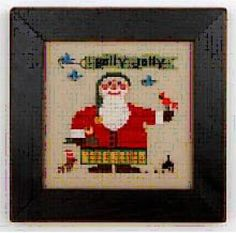 Wee Santa 2016 with charms is the title of this cross stitch pattern from Heart In Hand Needlearts.