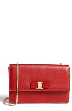 Glamour | Red Clutch-Purse| Shoulder Bag |Luxury| Serafini Amelia | Salvatore Ferragamo 'Jimmy' Leather Shoulder Bag available at #Nordstrom