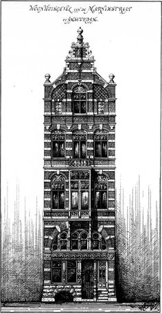 Cuypers's projected elevation for a house on Marnixstraat in 1885, Amsterdam