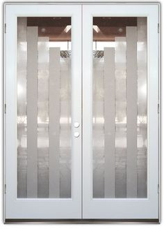 Towers 2D - Double Entry Doors Hand-crafted, sandblast frosted and 3D carved.  Available as interior or entry door in 8 woods and 2 fiberglass. Slab door or prehung any size, or as glass insert only.  Our fun, easy to use online Glass and Door Designer gives you instant pricing as YOU customize your door and glass!  When you're all finished designing, you can place your order right there online!  Doors ship worldwide from Palm Desert, CA