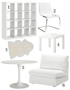 Ikea Favorites  (1)Expedit bookcase, $129  (2)Tobias chair, $80  (3)Rens faux sheepskin rug, $29  (4)Lack high gloss side table, $13  (5)Docksta dining table, $179  (6)Kivik sofa section, $199