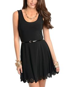 Black Cutout Hem Dress, scalloped hem, feminine dress, gathered waist, they have this in white too with black lace... I like both.  Good to dress up or down, appropriate for work or new years eve party!