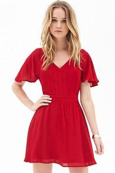 833b6b1b657a Ellady Red V Neck Ruffle Sleeve Short Dress