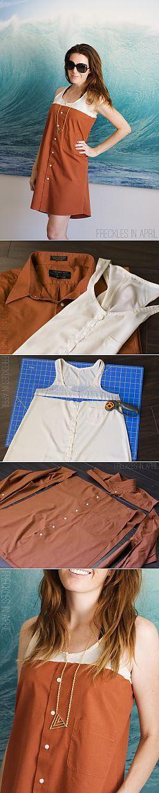 Переделка рубашки в летнее платье (Diy) / Рубашки /
