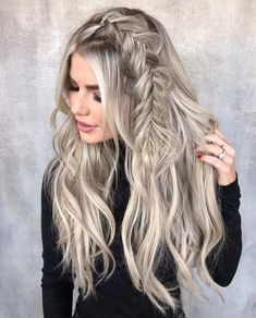 12 Easy Braids For Long Hair Enchanting side fishtail braid for long blonde hair Easy Hairstyles For Long Hair, Summer Hairstyles, Pretty Hairstyles, Wedding Hairstyles, Hairstyle Ideas, Casual Braided Hairstyles, Edgy Updo, Stylish Hairstyles, Hairstyles 2018