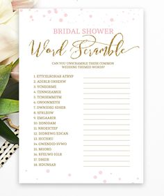 bf5fca6be939 Bridal Word Scramble Pink and Gold Bridal Shower Bridal