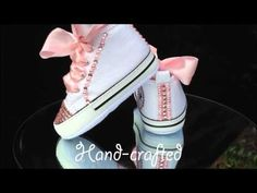 Fierce Fairy Footwear's 'My All Star Converse Crystal Crib Shoes'. Baby Converse Shoes, Bedazzled Converse, Bling Baby Shoes, Rhinestone Converse, Baby Bling, Baby Sneakers, Kids Converse, Converse Sneakers, Crib Shoes