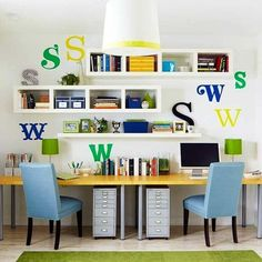 home office workspace for two | Light, functional, bright and modern small home office design for two