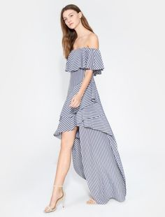 a63d566632a7 Striped Off Shoulder Gown French Grey, Halston Heritage, Grey Fashion,  Vintage Fashion,
