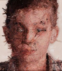 CREEPY!!! teo detail 5 by carigadamus, via Flickr --- back of a photo-realistic embroidered portrait