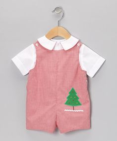 This White Button-Up & Red Christmas Tree Shortalls - Infant & Toddler is perfect! #zulilyfinds