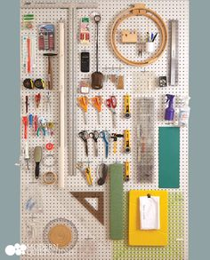 another shot from our last issue of MQI. the pegboard in our studio makes life so much easier and workflow so much more streamlined. Sewing Room Design, Sewing Room Storage, Sewing Room Decor, Craft Room Design, Sewing Room Organization, Craft Room Storage, Sewing Rooms, Sewing Studio, Craft Rooms