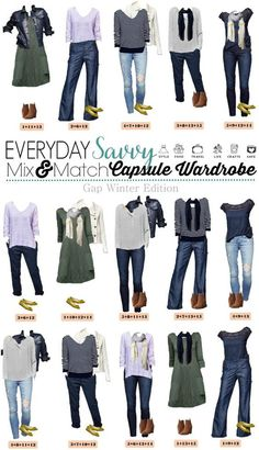 Love this Gap winter capsule wardrobe which will transition well to spring. The lilac and navy stripe sweaters are great for winter and spring. The dragonfly print and mixed lace tops are fun and easy to wear as well. style idea fashion collection. 15 mix and match outfits.