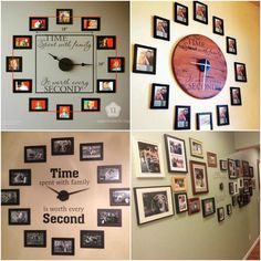 TIME Spent with family, is worth every SECOND! Here's a great idea for your home decor and unforgettable memories -- Family photo wall art ! Take family photos and arrange them in a circle around a clock kit, it's easy to make .You will be proud of yourself with Installing this Time Spent With Family…