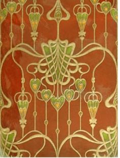 Art Nouveau wallpaper design with S-curve and swirling lines — 1904 wallpaper sample from M. Birge & Sons of Buffalo, New York, one of the leading wallpaper manufacturers in America. Azulejos Art Nouveau, Art Nouveau Tiles, Art Nouveau Design, Design Art, Wall Design, Floor Design, Interior Design, Motif Art Deco, Art Nouveau Pattern