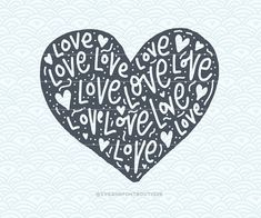 SVG Cuttable Vector  Love Love Love Heart  by SVGandFontBoutique