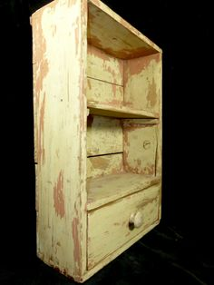 Dovetailed Small Chest with Shelf and Drawer in Old Paint  AAFA No Reserve in Antiques, Primitives | eBay