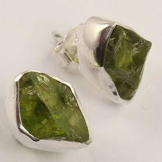925 Solid Sterling Silver Handmade Jewellery Earrings Natural PERIDOT Gemstones #Unbranded #Stud