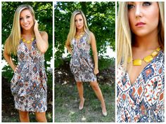 Hey Ladies! So many new arrivals! Come find YOUR special look! Unique Aztec Print Dress $40.00 Geometric Necklace w/ Earrings $25.00